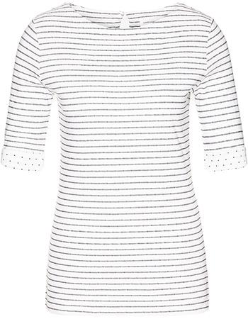 T-shirt Kalle Stripes Off White - Navy from watMooi