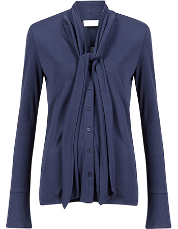 Blouse Bow Tencel Eclipse Blue from watMooi