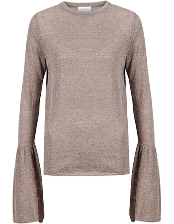 Trui Sweat Bell Sleeve Fine Knit Taupe from watMooi