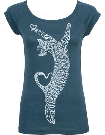 T-shirt Dancing Cat Denim Silver from watMooi