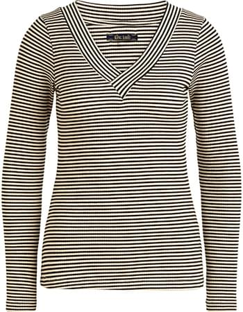 Longsleeve V Col Deep V Tweedy Stripe Black