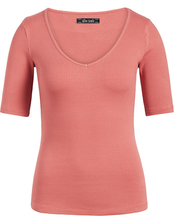 T‑ shirt Carice Rib Tencel Dusty Rose
