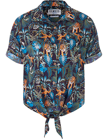 Blouse Korte Mouw Knot Surf Jungle Print