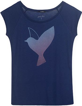 T-shirt Riso Bird Peacock Blue from watMooi