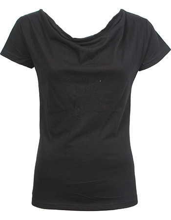 T-shirt Watervalhals Bat Black from watMooi