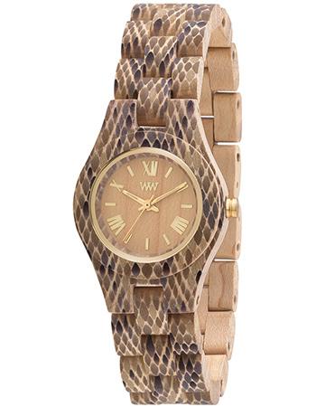 Horloge Hout Criss Python Beige from watMooi