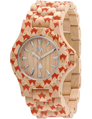 Horloge Hout Date Heart Beige from watMooi